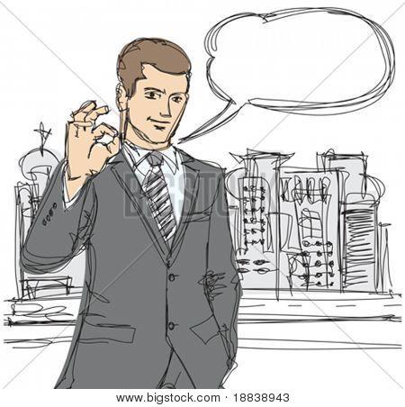 vector sketch of happy businessman shows OK