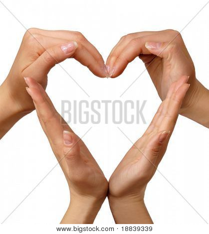 Heart made from hands conceptual symbol isolated on white