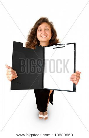 Beautiful smiling businesswoman holding opened file folder showing business report isolated on white