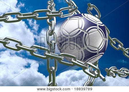 3D soccer ball tearing silver chains apart making goal abstract competition concept