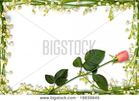 Frame from lilies of the valley flowers with small red rose - love letter horizontal background