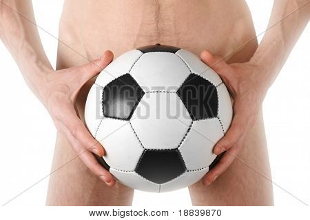 Nude man covering himself with soccer ball in his hands conceptual isolated on white with clipping path