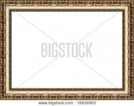 Antique wooden grungy background photo frame with guilded pattern isolated border