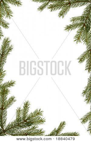 Fondo de Navidad - marco de ramas de abeto aislado en blanco