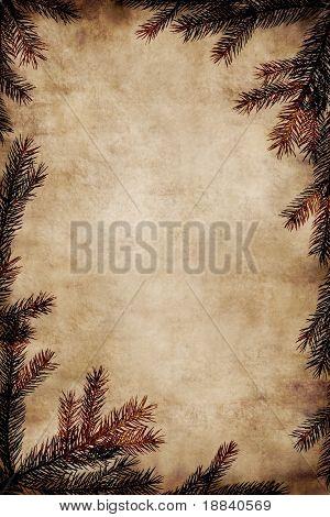 Fondo de Navidad Vintage - marco de ramas de abeto sobre viejo pergamino