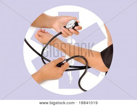 Patient is being observed by doctor Measuring blood pressure