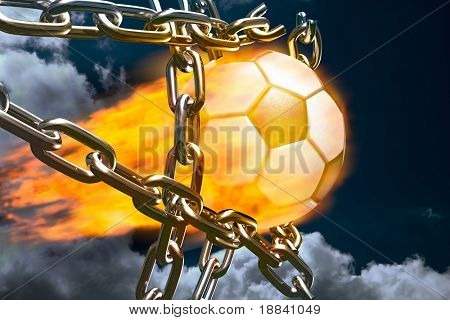 Burning soccer ball tearing chains apart making goal abstract competition concept