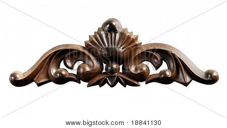Decorative wooden ornament Antique pattern Isolated with clippin g path on white background