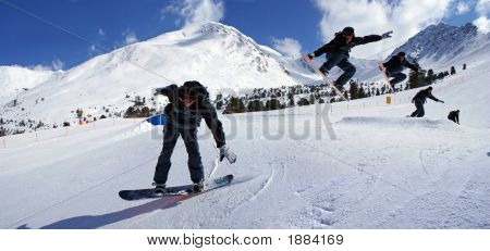 Sequence Of A Jumping Snowboarder