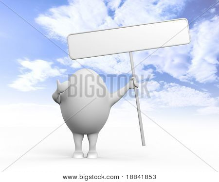 3D illustration of a cartoon egghead character holding a blank sign under blue sky