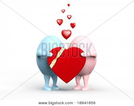 3D illustration of a cute couple of egghead characters in love holding a red valentine. Isolated on white background.