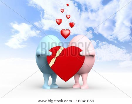 3D illustration of a cute couple of egghead characters in love holding a red valentine