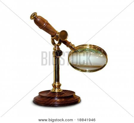 Antique magnifying glass isolated on white background with clipping path