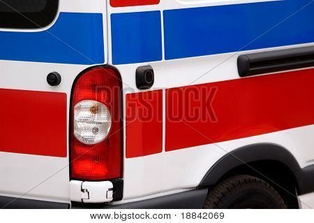 Ambulance vehicle red and blue stripes close-up