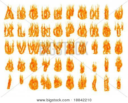 Burning alphabet letters and numbers isolated on white background. 3D illustration