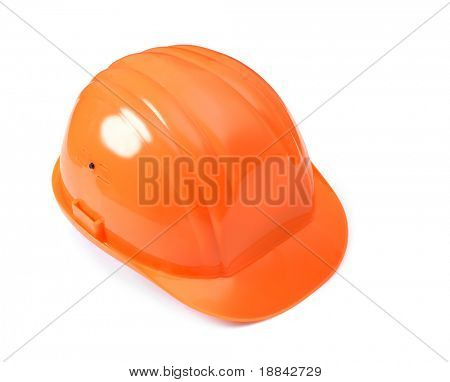 Orange hard hat isolated with clipping path on white background.