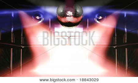 Night club interior with colorful spot lights and shining mirror disco balls artistic light show