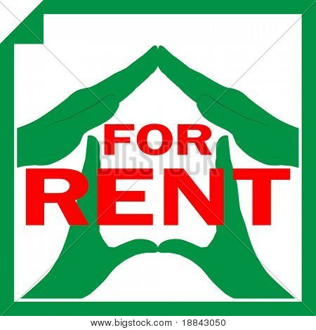 Conceptual illustration of a house symbol made from hands with sign FOR RENT overlayed on it