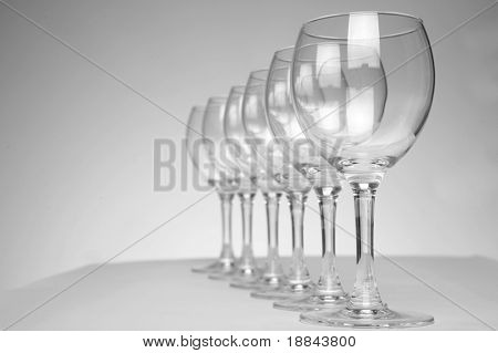 Still-life with empty glasses over white background_4