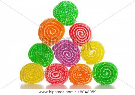 Colourful fruit a sweet close up of sugar candies on a white background