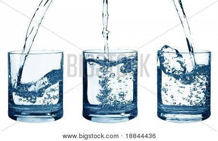 Set of flowing water in a glass isolated on white background
