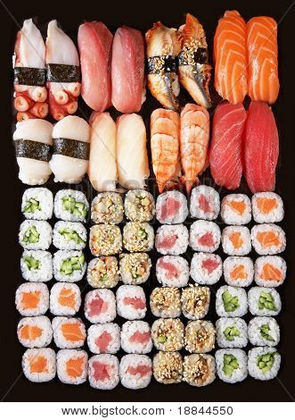 Set of Japanese sushi background