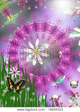 digitally created peacemandala in the tradition of flowerpower