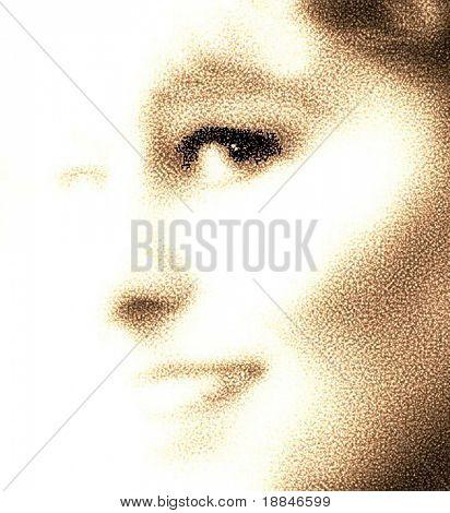 abstracción digital que muestra el rostro de la mujer