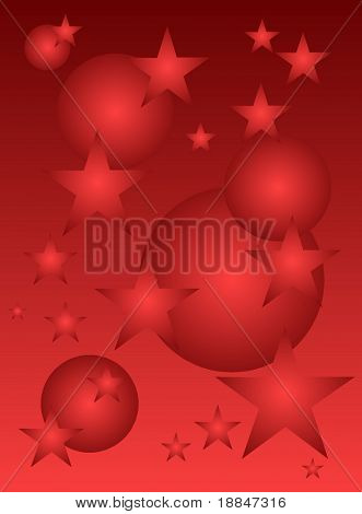 christmas illustration in strictly reds
