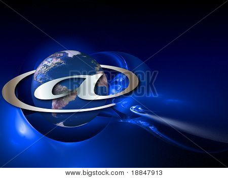 conceptual background/illustration showing planet internet