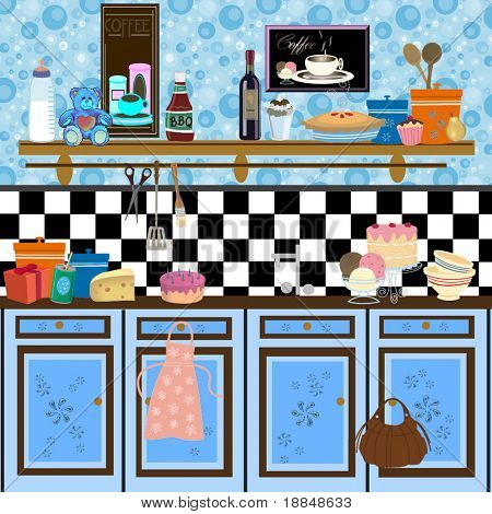 abstract graphic funky retro kitchen