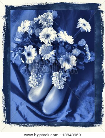 photographic reproduction cyanotype 'Delft Blue Still Life'