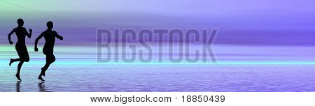 background banner/header with room for text showing the silhouettes of a couple running on the beach