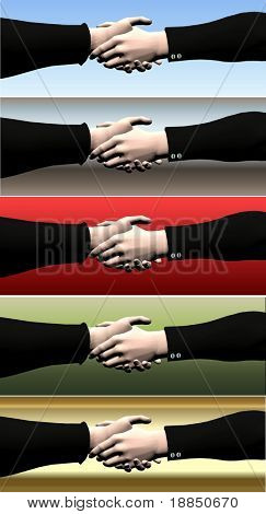 digitally created conceptual banners; hot deal, green deal, golden handshake etc.