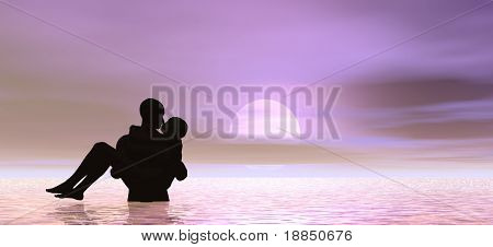 conceptual background illustration showing the silhouette of a kissing couple, plenty of room for text