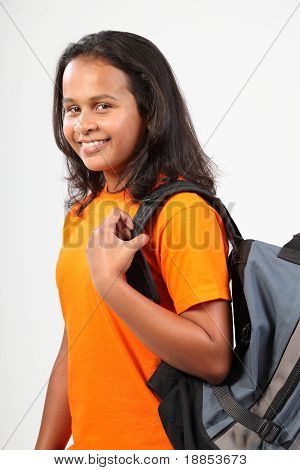 Happy school girl with back pack