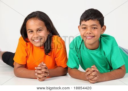 Happy smiles from young boy and girl