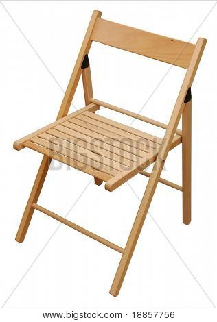 Wooden Folding Chair Isolated on the White