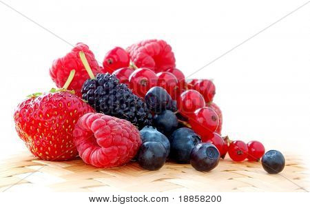 Pile of Fresh Strawberries, Raspberries, Blueberries, Bilberries, Mulberries and Red Currants