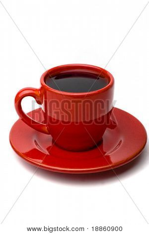 Red Coffee Cup On white