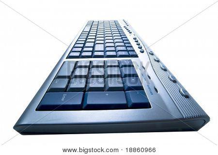 PC-Tastatur, isolated on White mit einer starken Perspektive