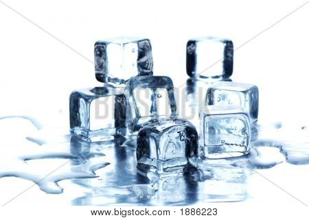 Melting Ice Cubes Over White Background