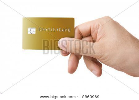 Gold colored credit card in a male hand on white