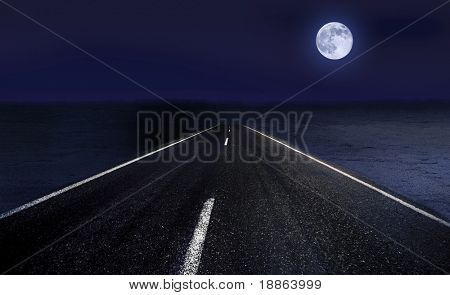 Highway passing through desert in moon light