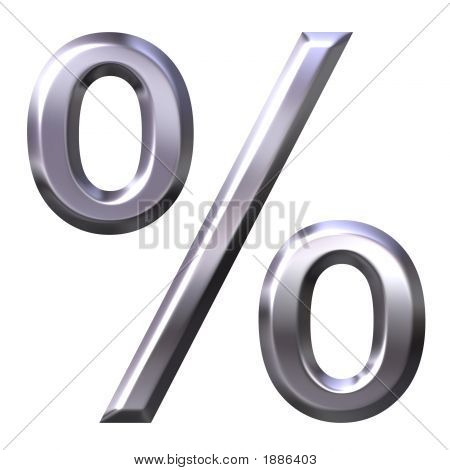 3D Silver Percentage Symbol