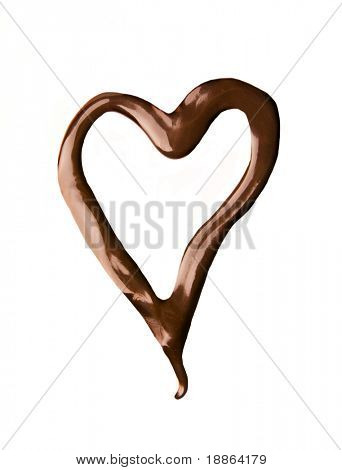 Heart shape made of liquid chocolate isolated on white