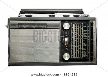 Old radio isolated on white with clipping path