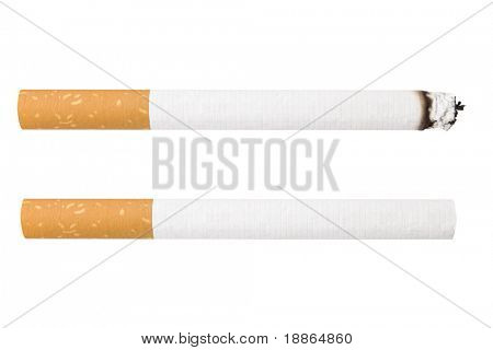 Two Cigarettes isolated on white background, one is burning