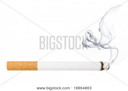 Cigarette smoking isolated on white