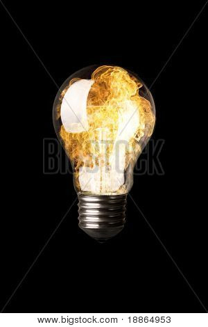 Light Bulb on fire isolated on black with clipping path